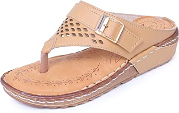 TRASE Doctor Fancy -2 Tan/Beige / Red Ortho Slippers Women (Comfortable Doctor Sole)