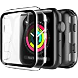LK Compatible con Apple Watch Series 3 Series 2 Series 1 38mm Protector de Pantalla,2 Pack,PC Funda, Cristal Vidrio Templado
