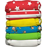 Charlie Banana Circus Hybrid All-in-One Diapers with Twelve Reusable Inserts, Size 1, 6-Piece