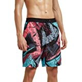 Meerway Men's Beach Shorts Swimming Trunks Printed Board Shorts with Drawstring and Side Pockets