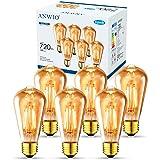 ANWIO 6.5W Ampoule à Filament LED E27 ST64, 720Lm Equivalent à Ampoule Incandescente 54W, Ampoule Rétro Edison de Verre Trans