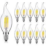 Wedna 10 Pezzi Lampadine LED E14 a Filamento, 4W lampadina a candela Equivalenti a 40 W Incandescenza 2700K Luce Calda, 420lm
