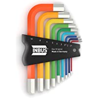 INBUS® 70259 Inbusschlüssel Satz Farbcodiert Kurz Metrisch 9tlg. 1,5-10mm | Made in Germany | Innensechskant-Schlüssel | Winkel-Schlüssel | 1,5mm | 2mm | 2,5mm | 3mm | 4mm | 5mm | 6mm | 8mm | 10mm | bunt | farbig | Design | Kurze Ausführung