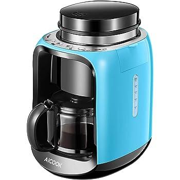 Aicook Macchina Caffe, Caffettiera Americana e Macchina Caffe Chicchi 2 in 1, Macchina Caffe Automatica per 6 Tazze con Caffettiera in Vetro, 600W, Blu