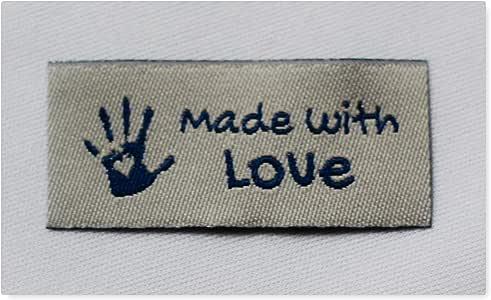 20 Handmade Webetiketten Mix Labels Handmade with Love Webetikett Stofflabels