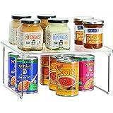 iDesign rangement cuisine, petite étagère de rangement en plastique et métal, étagère à épices empilable pour vaisselle et in