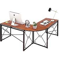 VECELO Table d'Ordinateur, Table d'angle en Bois et Acier Noir, Table Informatique pour Maison et Bureau (Blanc)