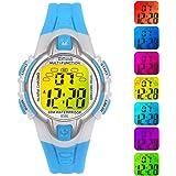 Reloj Niño Niña Digital,7 Colores 50M Impermeables Relojes de Pulsera Infantil Deportivos de Pulsera Multifuncionales para Ex