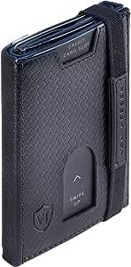 VON HEESEN Mini Kartenetui Mit Münzfach 5-10 Karten - RFID-Schutz - Made in Europe Leder Geldbörse Herren klein - Mini Geldbeutel Männer - Portemonnaie Geldklammer Portmonee Slim Wallet (Carbon)