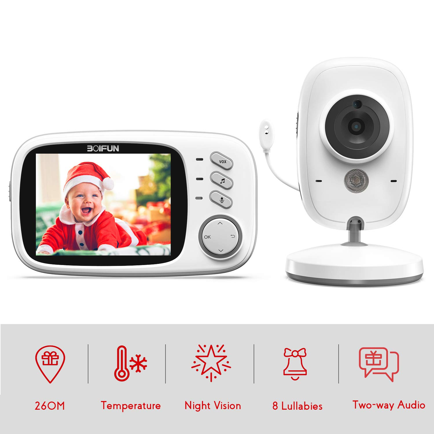BOIFUN with 3.2 LCD Screen 300 Meters 2.4Ghz Wireless Stable Connection Rechargeable Battery VOX Night Vision Temperature Monitor Two-Way Talk Baby//Elderly//Pet Baby Monitor with Camera