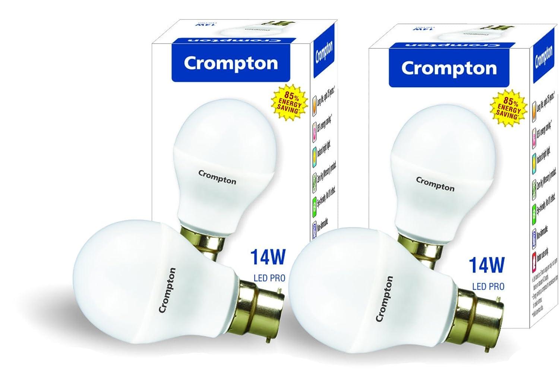 crompton base b22 14watt led bulb pack of 2 white amazonin home u0026 kitchen