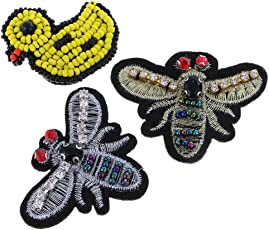 Anbau 3 Pieces/Set Embroidery Rhinestone Beaded Patch Duck Dragonfly Patches Cloth Garment Decoration