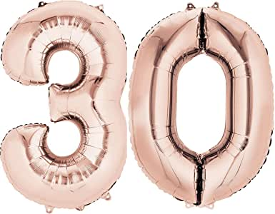 Folienballon XL Großezahl 80cm Geburtstag Helium Luft-Ballon Zahlen Gold Deko
