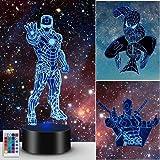 Lampada 3D Regalo, Superhero Light Night for Boys Girls Decor Lamp - Regali Festa di compleanno Natale per bambini Ragazzi (S