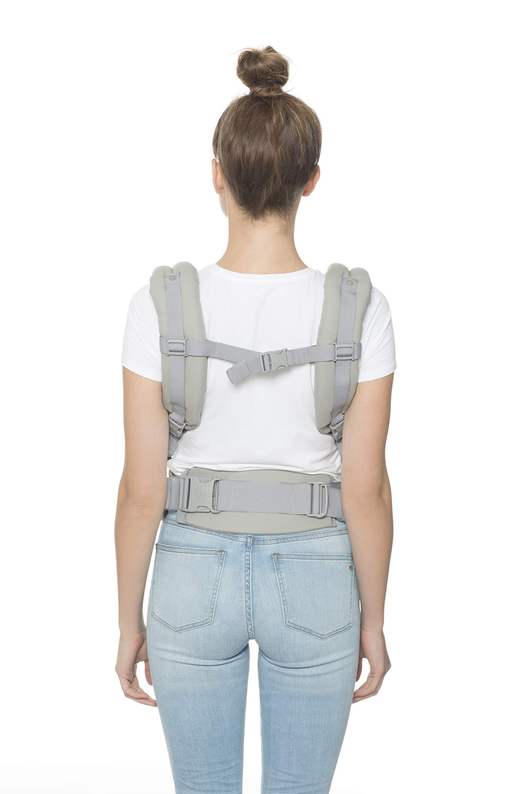 "Ergobaby Front and Back Original Baby Carrier, Pearl Grey Ergobaby Ergonomic baby carrier - ergonomic for baby with wide deep seat for a spread-squat, natural ""m"" seated position. Baby carrying system with 3 carry positions:  front-inward, hip and back. from baby to toddler: 5.5*-20 kg Maximum wearing comfort - lumbar support waist belt (adjustable from 66-140 cm / 26-52 in) that can be adjusted to the height of the carry position. 10"