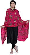 Kalpit Creations Women's Cotton Embroidery & Mirror Work Stylish Ethinic Multicolour Dupattas & Stoles rani pink colour