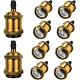 DiCUNO Vintage E27 douille de lampe, Edison retro suspension lampe, Solide céramique adaptateur, 10 Pièces laiton vintage soc