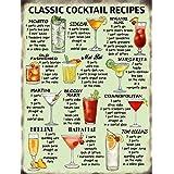 Star55 - 10647–Panneau vintage en métal avec inscription en anglais « Classic Cocktail Recipes » 6 x 8