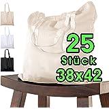 Baumwolltasche 38x42 cm unbedruckt, 25 Stück - Zwei KURZE Henkel OEKO-TEX® zertifiziert Stofftasche, Tragetasche, Baumwollbeu