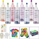 Tie Dye Kit, Sinwind 8 Colores Vibrantes Pinturas Textiles de Tela, con 40 Bandas de Goma, 8 Pcs de Guantes de Plástico, para