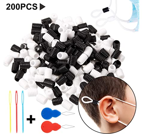 Soft Plastic Silicone Flat Ear Rope Adjuster Non Slip Stopper Earloop Buckle Sopplea 400 pcs Cord Locks Silicone Toggles,Adjustment Lanyard Elastic Buckle Flat Connector Black and White