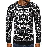Men Knitwear Round Neck Long Sleeve Reindeer Knit Pattern Sweatshirt Thin and Lightweight Breathable Slim Fit Knitwear Fashio