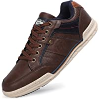 TARELO Mens Casual Shoes Trainers Hand Stitching Leather Low-top Walking Business Sneakers Sport Tennis Size 7-11