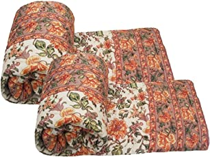 Cloud Mart aipuri Light Weight Pure Cotton Traditional Rajasthani Print Orange Colour Single Bed Quilt/Razai / Rajai-Set of 2