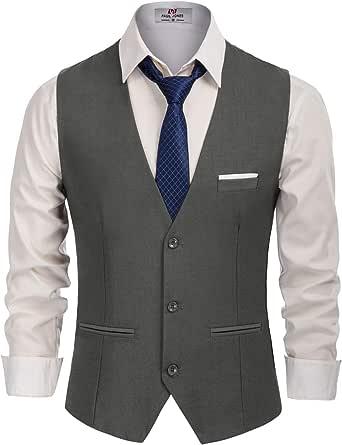 PJ PAUL JONES Men's Slim Fit Business Dress Suit Vests 3 Button Formal Waistcoat, Dark Grey, XXL