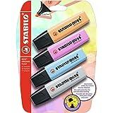 Surligneur - STABILO BOSS ORIGINAL Pastel - blister x 4 surligneurs - abricot, bleu, mauve, gris
