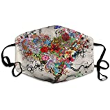 Foulard Stelle Fiori Cuore Emozioni Colorate Anti polvere Polsini Cuffie riutilizzabili lavabili per la protezione del viso