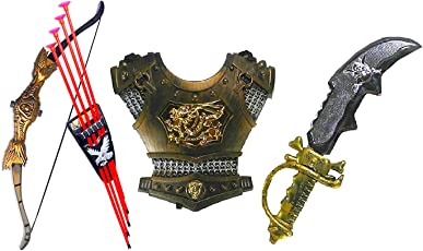 HALO NATION Bahubali Warrior Set - Knights Fancy Dress Cosplay - King's Chest Armour, Sword, Archery Set- Bow Arrows with Quiver
