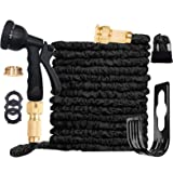 Expandable Garden Hose Pipe 3 Times Expanding 100FT Lightweight with 8 Function Spray Gun Flexible Magic Water Hose Brass Fit