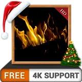 caminetto scuro HD gratuito - goditi le vacanze invernali di Natale con un romantico caminetto caldo sulla tua TV HDR 8K 4K e dispositivi di fuoco come sfondo e tema per la mediazione e la pace