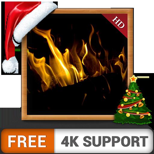 caminetto scuro HD gratuito - goditi le vacanze invernali di Natale con un romantico caminetto caldo sulla tua TV HDR 4K e dispositivi di fuoco come sfondo e tema per la mediazione e la pace
