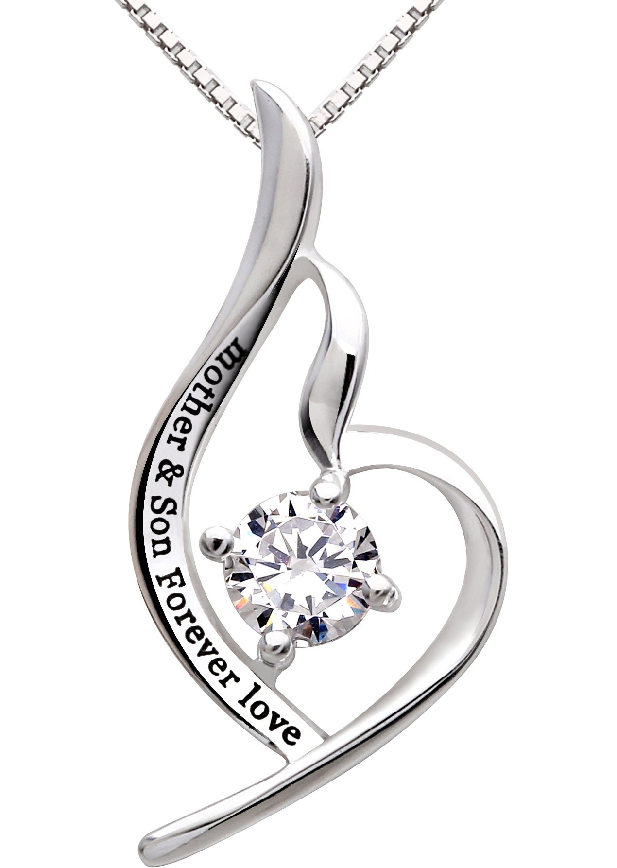 "ALOV Jewelry Sterling Silver""mother & son forever love"" Cubic Zirconia Pendant Necklace"