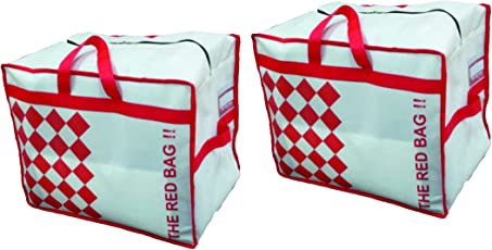 The Red Bag Set Of 2 White Fabric Storage Bag