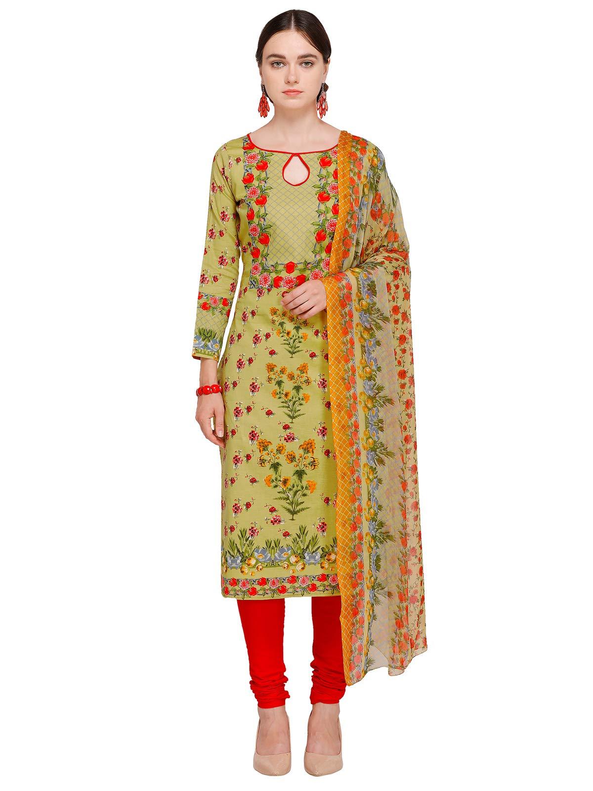 Kanchnar Women'S Green And Pink Cotton PrintedDress Material