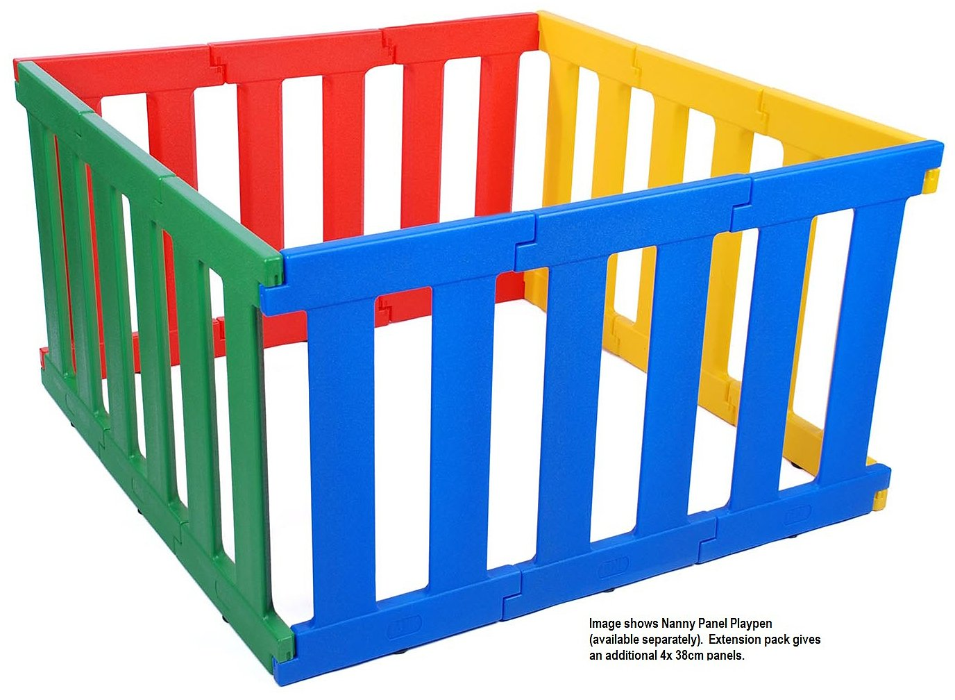 TikkTokk Nanny Panel Playpen Extension Pack (multi-Coloured) TikkTokk Extension Pack for the Nanny Panel Play Pen (TNP01C) - contains 4 panels each 38cm wide One extension pack will increase Playpen to 152cm x 152cm 2 year manufacturer's guarantee 5