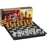 Faltende magnetische Reise Schach Set von MAZEX für Kinder oder Erwachsene Schach Brettspiel (9.8X9.8X0.8 Inch, Gold&Silver Chess Pieces)