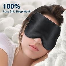 Premium Seiden Schlafmaske Damen und Herren, samtweiche Schlafbrille aus 100% natürlichen Seiden für einen ungestörten und erholsamen Schlaf, angenehme Augenmaske hilft bei Schlaflosigkeit - schwarz