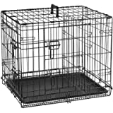 Double Door Folding Metal cage with Removable Tray and paw Protector for Dogs, Cats and Rabbits [ 24 inch ] - Central Fish Aq