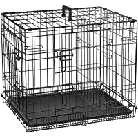 Double Door Folding Metal cage with Removable Tray and paw Protector for Dogs, Cats and Rabbits [ 24 inch ] - Central…