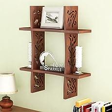 Home Sparkle Plus Shaped Engineered Wood Wall Rack (46 cm x 13 cm x 46 cm, Brown)