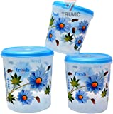 Truvic Plastic Kitchen Storage Container Set, 3 Pieces (5 LTR, 7 LTR, 10 LTR) (Multi) H