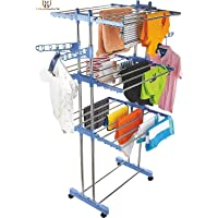 HOUSEWARE™ Stainless Steel Heavy Duty Double Pole 3 Layer Cloth Drying Stand for Balcony