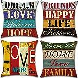 Freeas Kissenbezug 45 x 45 cm, Baumwolle Leinen Retro Love Home Kissenhülle Taille Wurf Kopfkissenbezug für Zuhause und…