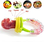 Wishkey Baby's BPA-Free Silicone Food Nibbler for Fruit and Veggie with Rattle Handle (Multicolour, 6-12 Months)