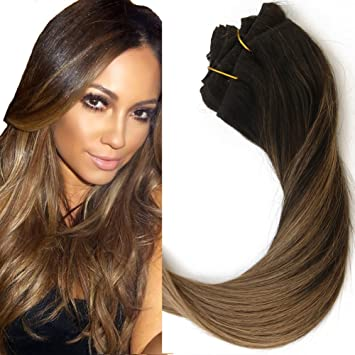 15 inch Balayage Clip in Hair Extensions Light Brown Ombre Hair ...
