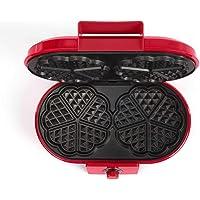 Piastra doppia per waffle  forma a cuore  rivestimento antiaderente  1200 Watt  colore rosso